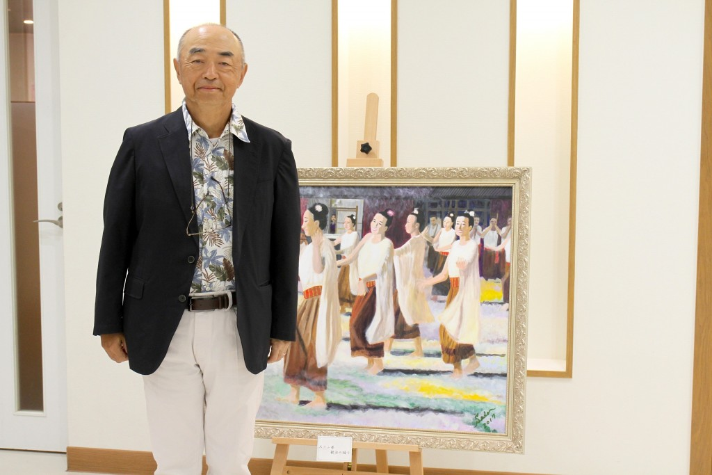H.E. Ambassador of Japan Sadoshima with his arts 1